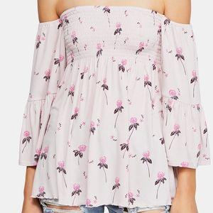 Free People Lana Off the Shoulder Pink Floral Top